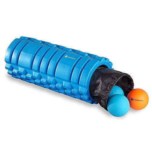 """GUT von Sportastisch ? Faszienrollen Set """"Let's Roll"""" mit Massagerolle, Massageball, Doppelball, Tasche & Ebook (mittlerer Härtegrade mit Noppen und Rillen, ideal für Anfänger) 3 Jahre Garantie"""