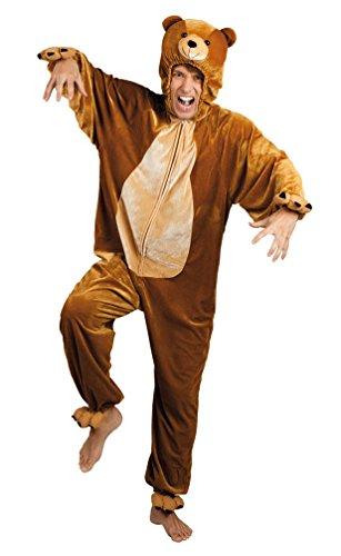 Karneval-Klamotten Bär Kostüm Herren aus Plüsch Bären Erwachsene-Kostüm Teddy-Bär Braun Kostüm Karneval Tier-Kostüm Herren-Kostüm Einheitsgröße