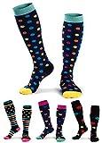 LOFIR Femmes Chaussettes de compression 15-25mmHg Bas Chaussettes de sport/d'allaitement pour la course, les soins infirmiers, les attelles pour tibias, les vols et la grossesse, 4 paires