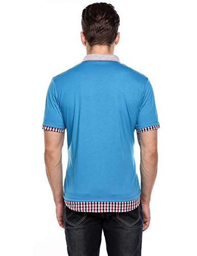 Lonlier Herren Poloshirt Kurzarm Karo Patchwork Sommer T Shirt Polo Hemd Blau