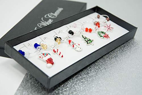 Weinglas-Charms - gemischt 6 Stück Glas-Charms mit Geschenk-Box - Weihnachten Schneemann Schneeflocke Weihnachtsbaum Zuckerstange Girlande Anhänger Set1 -