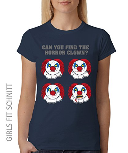 -- Horror Clown Halloween -- Girls T-Shirt Navy, Größe XXL (Friedhof Girl Halloween Kostüm)