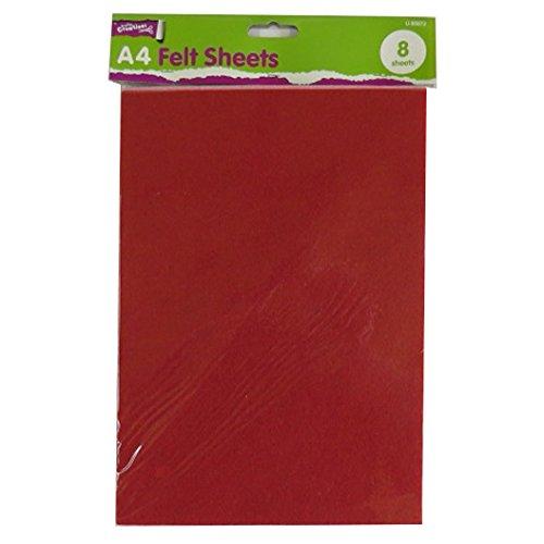 A4fieltro de color hojas-Pack de 8-Todos los colores surtidos-by Crafty creaciones