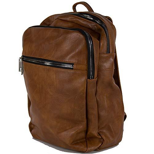 Zaino marrone vintage grande da uomo lavoro viaggio università business zainetto moto ufficio elegante borsa a spalla donna squadrato leggero scuola con zip di moda Marro