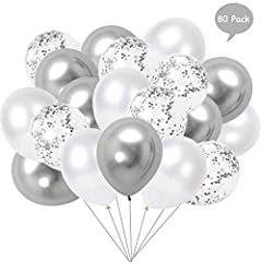 Idea Regalo - Yisscen 80 Pezzi Palloncini Bianco Argento, 12'' Palloncini matellici Palloncini coriandoli Palloncini in Lattice Palloncini Colorati in Elio per Decorazioni per Feste di Compleanno (Argento)