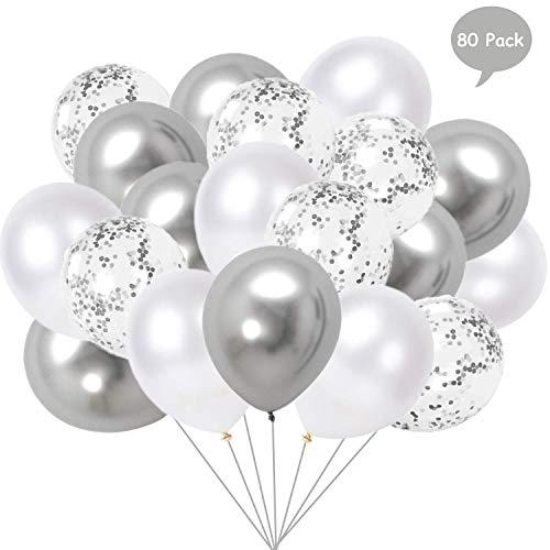 Yisscen 80 pezzi palloncini bianco argento, 12'' palloncini matellici palloncini coriandoli palloncini in lattice palloncini colorati in elio per decorazioni per feste di compleanno (argento)