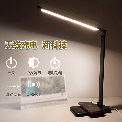 Eye protection wireless charging table lamp aluminum alloy folding touch 5-speed dimming LED lamp student reading table lamp Charge 5-gear dimming 5-gear tinting timing plus USB cable (silver) -