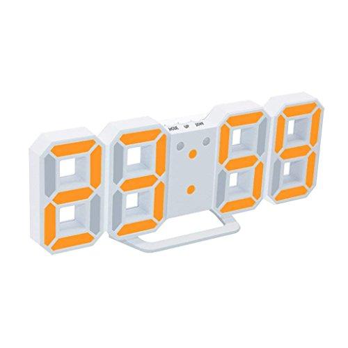 Jueven 3D LED Digital Wecker, Elektrische Tischuhr mit 24/12 Stunden Display & dimmbare Nachtlicht Snooze-Funktion (Farbe : F)