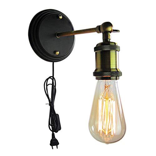 Industrielle Vintage Lampe de Mur Applique Murale Bronzé Antique Lampe de Lecture Long Bras Ajustable Douille E27 avec Câble d'alimentation avec Prise électrique/Interrupteur Noir