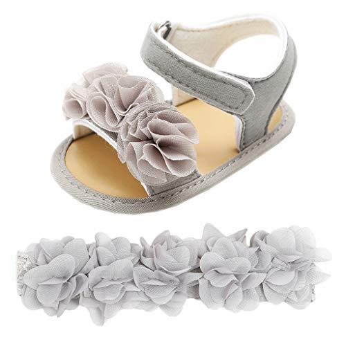 Cuteelf Baby Mädchen Blumen Sandalen Krabbelschuhe Erste Schuhe Baby Mädchen Jungen Haarband + Blumen Pailletten Sandalen Erste Wanderer Schuhe