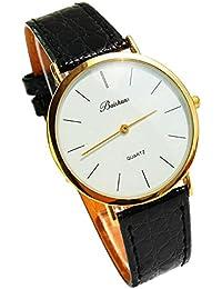 ufengke® dünnen band lässig eleganten goldlünette armbanduhren für männer weißes zifferblatt