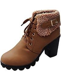 Logobeing Botas Altas Mujer Botines Planos Zapatos Botas de Invierno para Mujer Zapatos con Cordones de Felpa Botas con Plataforma de Tacones Altos