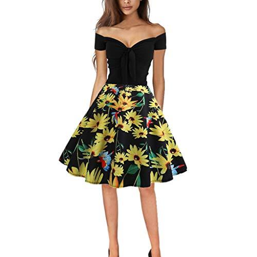 Daysing Kleider Abendkleider Sommer Party Casual Kurzärmliges Kleid mit Retro-Kragen-Aufdruck EIN Online-Rock Kurze Ärmel Chrysantheme Blumenmuster