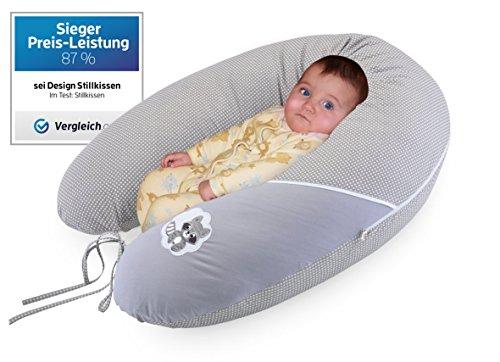 Qualité bébé oreiller coussin d'allaitement de la grossesse de Sei Design XXL 190 x 30cm, remplissage constitué de boules de fibres - très doux et confortable. Couvrir avec zip et de broderie de haute qualité.