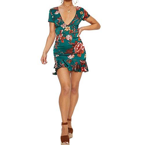 Techwills Frauen Kleider Lässige Kurzarm V-Ausschnitt Blumendruck Spitze Zurück Volants Kleid(M) -