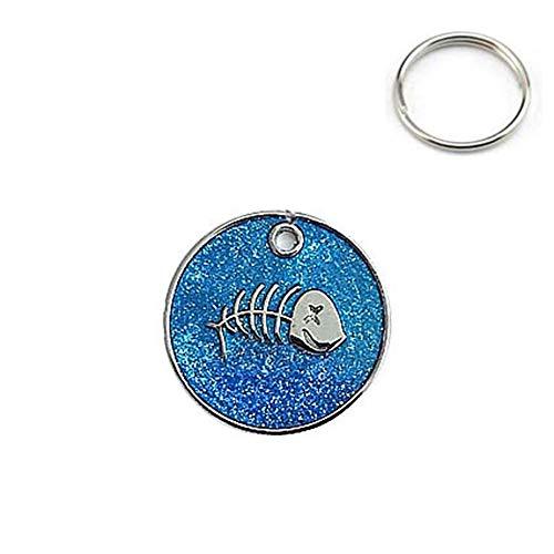 Kostüm Blau Glitter - JKRTR Haustierkleidung 2019,Charm Knochen Glitter Paw Disc Disk Hund Katze Tag Anhänger Haustier ID Kragen(Blau,2.5x2.5cm)