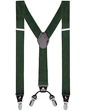 Buyless Fashion Tirantes elásticos y ajustables en forma de Y para hombres con clips de metal de 3 cms de ancho