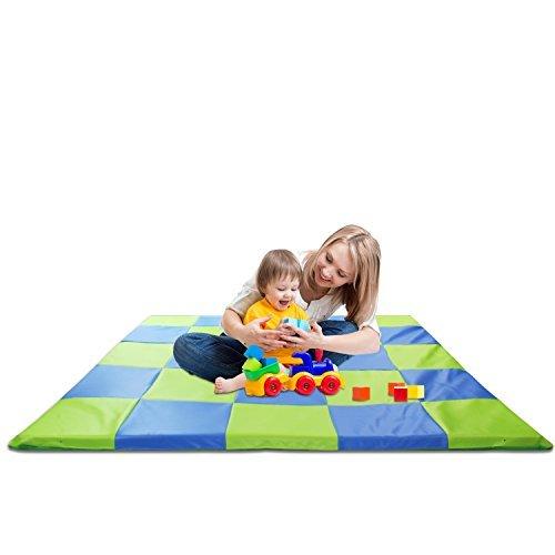 Tapis de jeu à carreaux rembourré en mousse viscoélastique pour enfant, 148x 148cm,bleu et vert