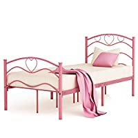 Single Metal Bed Frame Platform with Headboard and Footboard Slats Sturdy Contemporary Colored Mattress Not Included Kids Princess Bed For Girls 3FT Twin Size,Pink