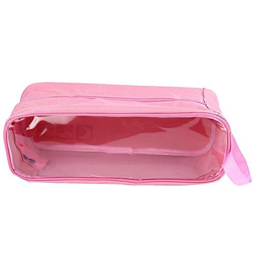 Reise Schuhbeutel Set von GOOTRADES, aus 2 Wasserdichtem Nylon mit Reißverschluss für Herren & Damen (Braun / Rosarot) Pink / Blau