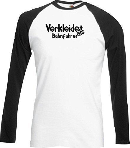 Base Camiseta Larga Carnaval Verkleidet como Conductor del tren Carnaval Revestimiento Diversos colores S-XXL - Negro, XXL