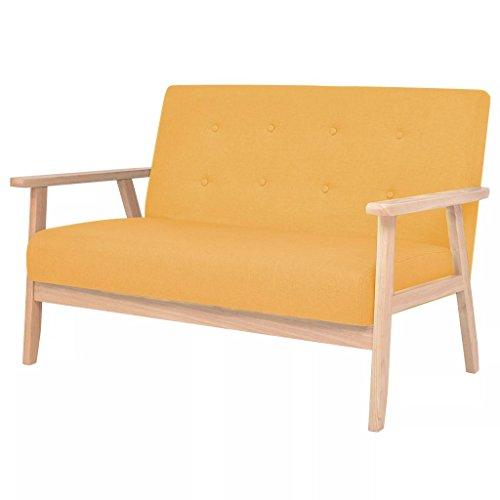 mewmewcat Sofa 2-Sitzer Couches im Skandinavischen Stil, Modernes 2-Sitzer, Holzrahmen und Stoff, Gelb/Blau Optional, 113,5 x 67 x 73,5 cm