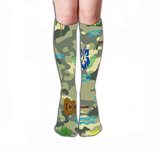 Xunulyn Hohe Socken Men Women Outdoor Sports High Socks Stocking Waves Hibiscus Guitar Palm Tree Military Hawaiian Design Drawing Tile Length 19.7