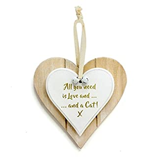 ALL YOU NEED IS LOVE AND A CAT DOUBLE LAYERED CHIC N SHABBY HANGING HEART