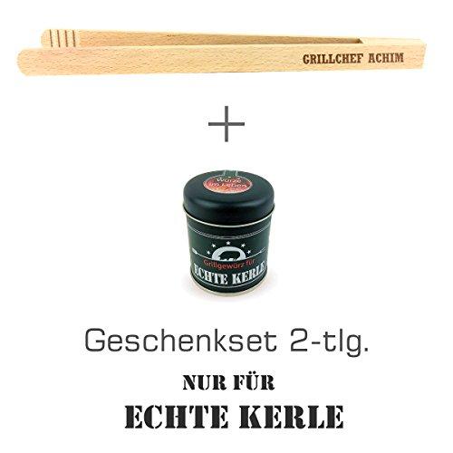 """Geschenkset 2-tlg. """"Nur für echte Kerle"""" Grillgewürz und Grillzange mit Namens-Gravur """"Grillchef + Achim"""" / Geburtstagsgeschenk / kreatives Geschenk / Männer / Grillen"""