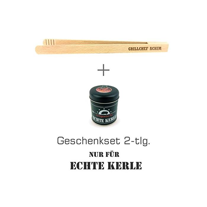 """Geschenkset 2-tlg. """"Nur für echte Kerle"""" Grillgewürz und Grillzange mit Namens-Gravur """"Grillchef + Name"""" / Geburtstagsgeschenk / kreatives Geschenk / Männer / Grillen 1"""