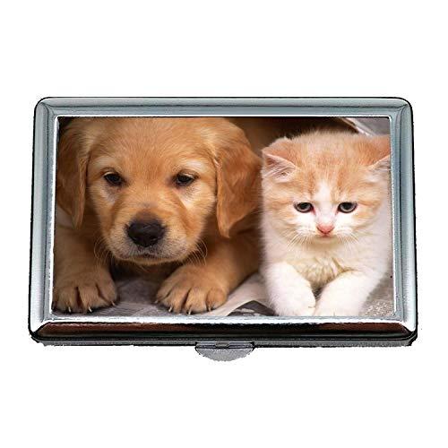 Zigaretten-Kasten, Welpen-Hunde Hund und Katze, Visitenkarten Sauber