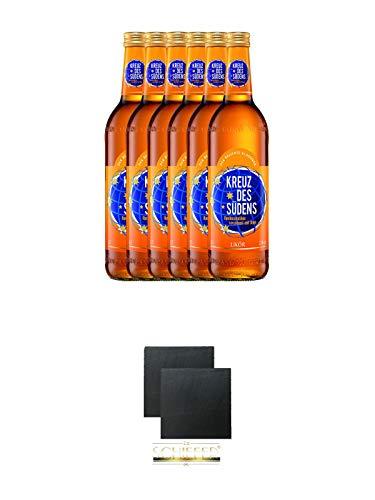 Kreuz des Südens Aprikosen Likör verfeinert mit Rum 6 x 0,7 Liter + Schiefer Glasuntersetzer eckig ca. 9,5 cm Ø 2 Stück - Aprikosen-likör