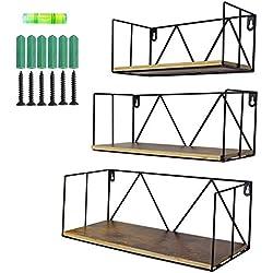 Umi. by Amazon - Lot de 3 Etagères Flottantes Etagères Murales en Bois avec Structure en Métal,pour salles de bain, chambres, bureaux et cuisines, Moderne décor