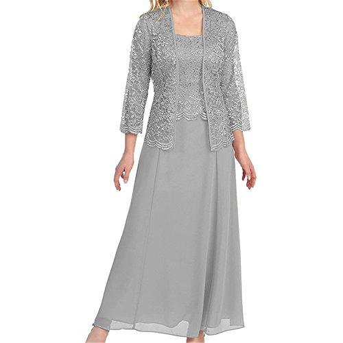 HWAN Frauen schn¨¹ren Mutter der Braut Kleid lange formale Kleider mit Jacke Bolero Silber (Abendkleider Von Jovani)