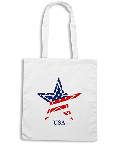 T-Shirtshock - Borsa Shopping T0763 usa flag star politica Bianco