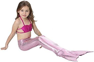 Highdas Cola Sirena Trajes Bano Ninas 3pcs Set Sparkle Mermaid Bikini Traje Bano