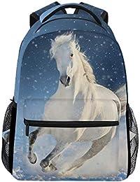07a48a925aaaa Schulrucksack Büchertasche Winter Schneefeld weiß Pferd Laufrucksack  Daypack Wasserdicht für Schule Reisen Mädchen Jungen Teenager