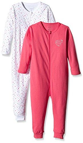 NAME IT Baby-Mädchen Schlafstrampler NITNIGHTSUIT Zip M G NOOS, 2er Pack, Mehrfarbig (Rouge Red), 86