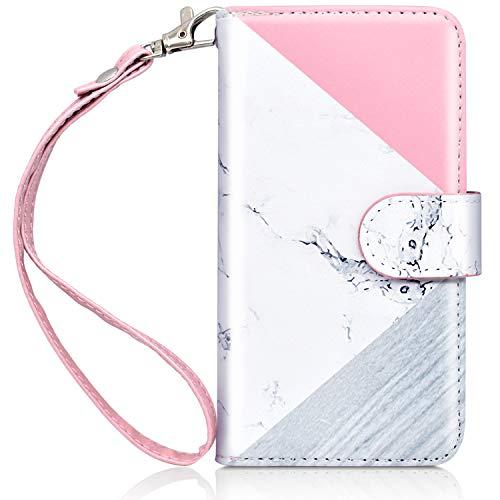 Dailylux iPod Touch 5/6 Hülle,iPod Touch 7 Hülle PU Leder Brieftasche mit Kartenhalter ID Slot und Handschlaufe TPU Innen Schutzhülle für Apple iPod Touch 5/6/7-Marble - Ipod Handschlaufe 5 Touch