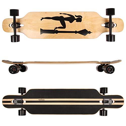 FunTomia® Longboard Skateboard Drop Through Cruiser Komplettboard mit Mach1® ABEC-11 High Speed Kugellager T-Tool mit und ohne LED Rollen (Modell Freerider Ahornholz - Farbe Veronika) -