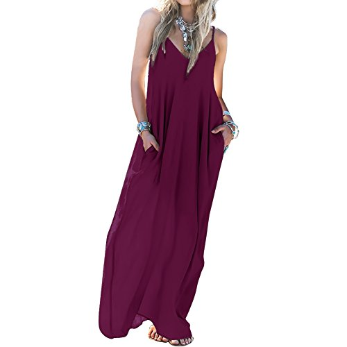 Skyblue-uk Beach Dresses Womens Boho Loose Chiffon Backless Party Evening Beach Long Maxi Dress Purple