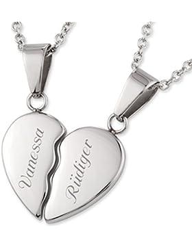Edelstahl Freundschaftsketten Herz-Anhänger mit persönlicher Laser-Gravur und 2 Halsketten 45 cm / 45 cm