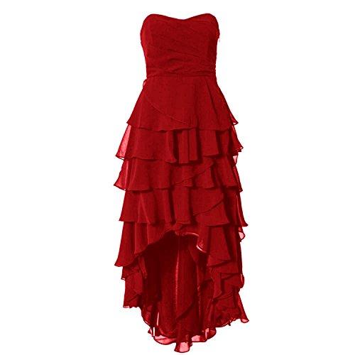 Find Dress Robe de Soirée Asymétrique Longue Robe Cocktail/Cérémonie Multicouche Ourlet sans Manches en Mousseline Col en Cœur Rouge Foncé