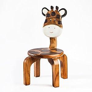 Kinderstuhl, Kinderhocker, massiv aus Holz mit Tiermotiv Giraffe, 25 cm Sitzhöhe für unsere Kindersitzgruppe