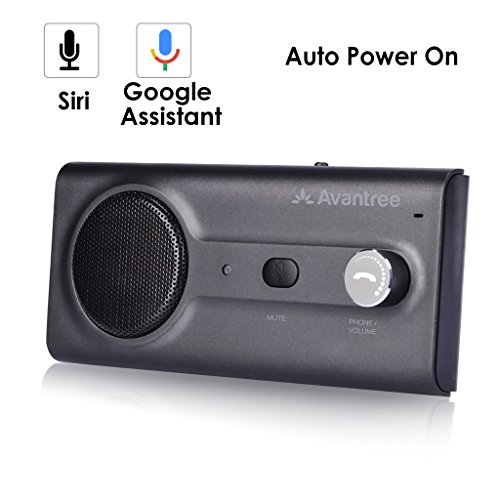 2018 Avantree NUOVO KIT Vivavoce Bluetooth per Auto Aletta Parasole con Siri, Assistente vocale Google, Auto Accensione, Viva voce senza fili per Auto Altoparlante per Telefono, Altoparlante potente da 2W, supporta il GPS, Musica e Chiamate