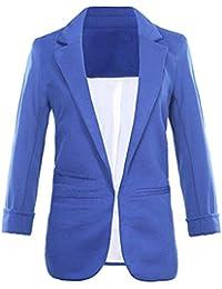 2eb54b6b7e8075 LRUD Damen 3/4 Ärmel Kurzer Taillierter Anzugjacke Colourful Beiläufig Blazer  Business