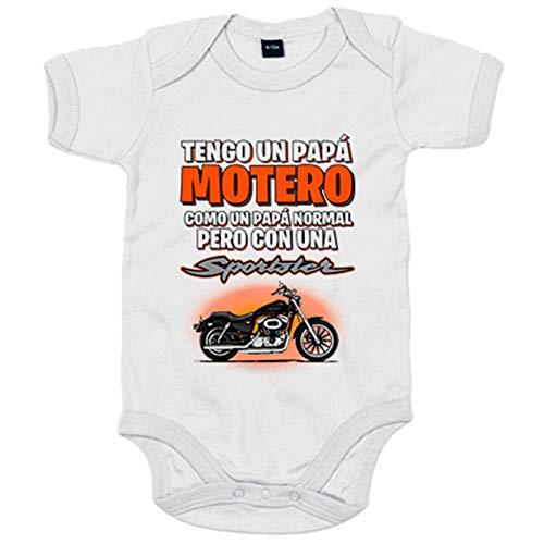Body bebé tengo un papá motero moto Sportster - Blanco, 6-12 meses