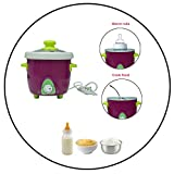 Safe-O-Kid- Feeding Essential- Small (.5 Ltr) Electric Slow Food/ Rice Cooker - Ceramic Based (not Aluminium) Pot, Slow Cooking (Preserve Nutrition), Travel Friendly/ Portable