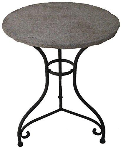 Gartentisch BOVINO Eisen mit Steinplatte rund