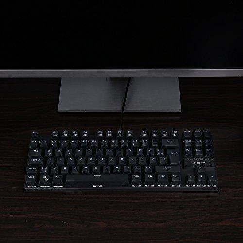 AUKEY Mechanische Tastatur Blue Switches 88-Key Anti-Ghosting ( QWERTZ Layout ) Wasserdicht Gaming Tastatur Metall Platte mit Tastenkappen-Abzieher für PC und Laptop Gamer - 6